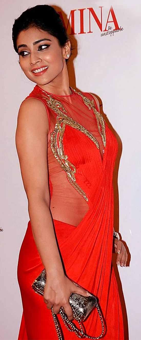 Shriya-Saran-In-Red-Saree-Gown