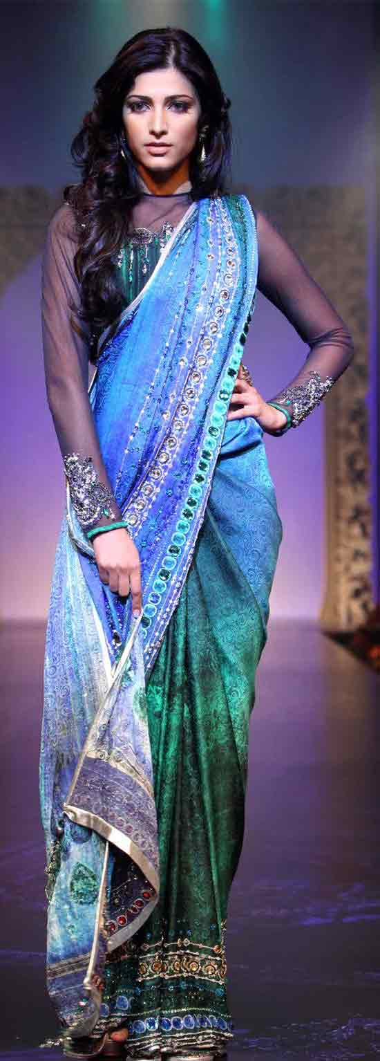 Shruthi-Hassan-In-Multicolor-Saree-With-Full-Sleeve-Net-Blouse