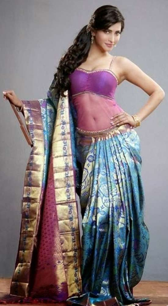 Shruti-Hassan-In-Blue-Pattu-Silk-Saree