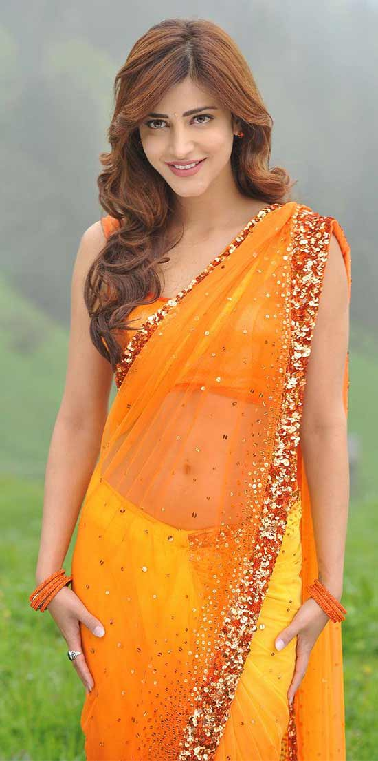 Shruti-Hassan-In-Orange-And-Yellow-Transparent-Sequins-Saree