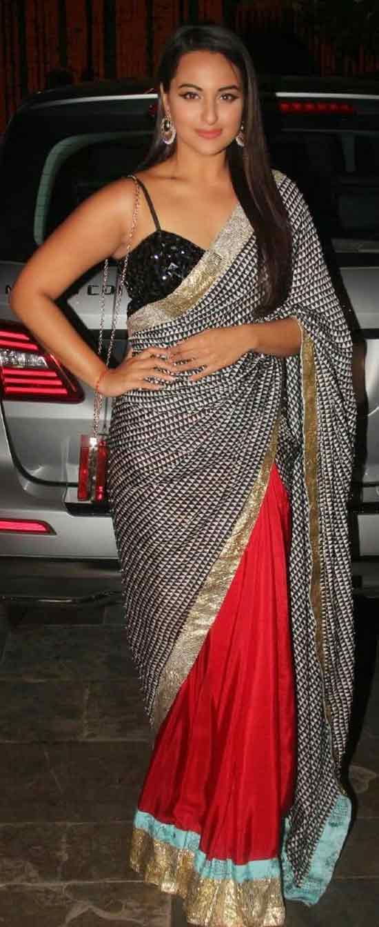 Sonakshi-Sinha-In-Red-And-Black-Half-And-Half-Saree-With-Gold-Border
