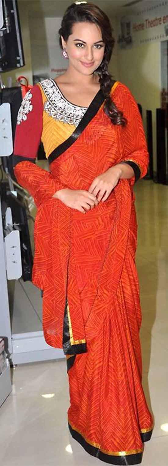 Sonakshi-Sinha-In-Red-Saree