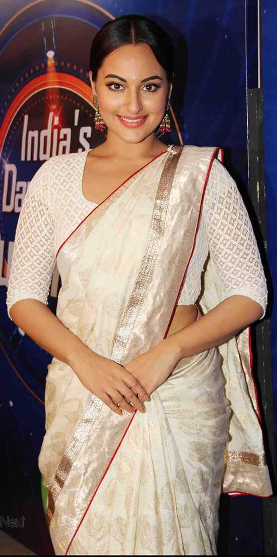 Sonakshi-Sinha-In-White-Saree