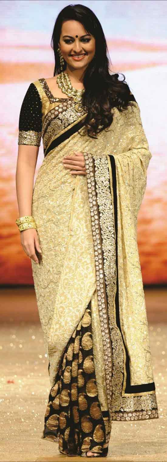 Sonakshi-Sinha-In-cream-and-black-viscose-designer-Saree-with-stone-and-jari-work