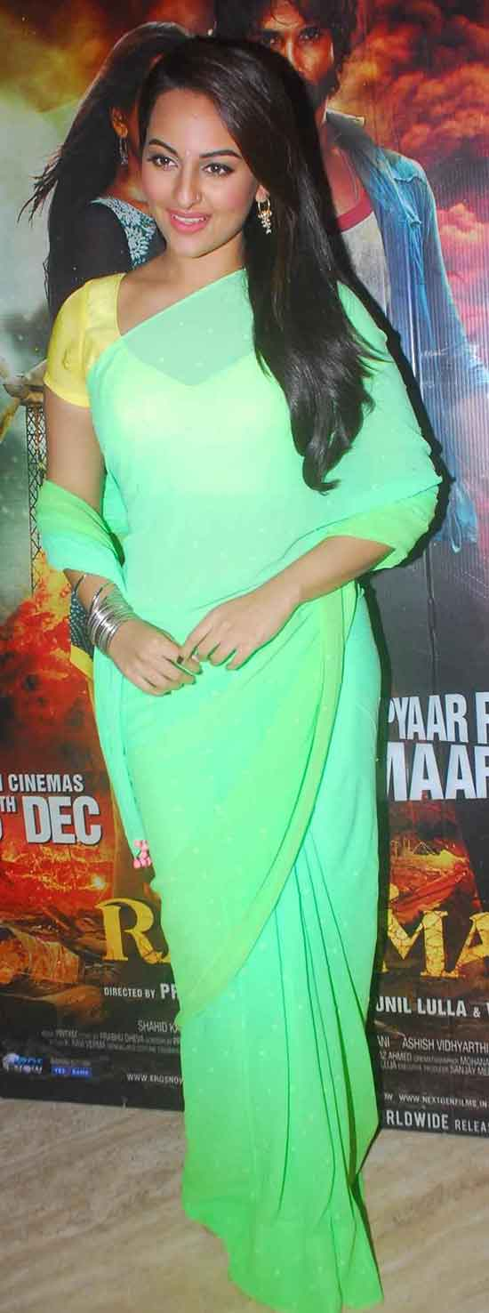 Sonakshi-Sinha-in-yellow-and-lime-green-saree