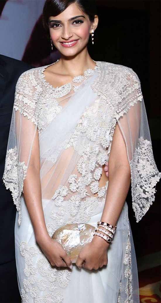 Sonam-Kapoor-In-White-Net-Saree