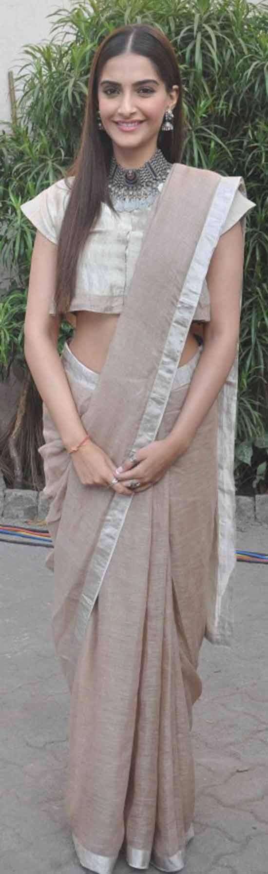 Sonam-Kapoor-in-a-beige-colored-Anavila-Saree