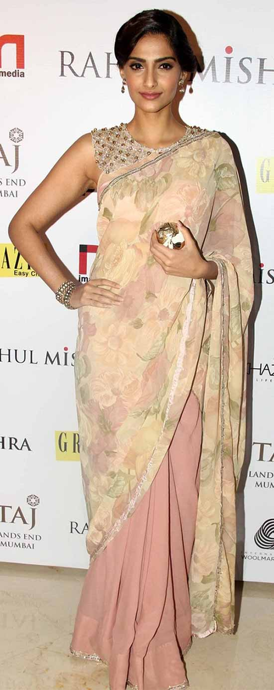 Sonam-kapoor-in-pink-backless-half-and-half-saree-designed-by-Shehlaa-Front