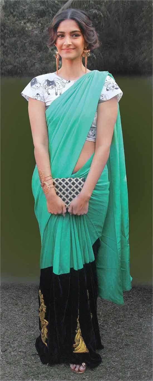 Sonam-kapoor-masaba-gupta-cow-print-blouse-teal-green-saree