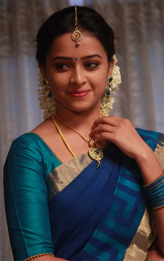 Sri-Divya-In-Chinese-Blue-Half-Saree