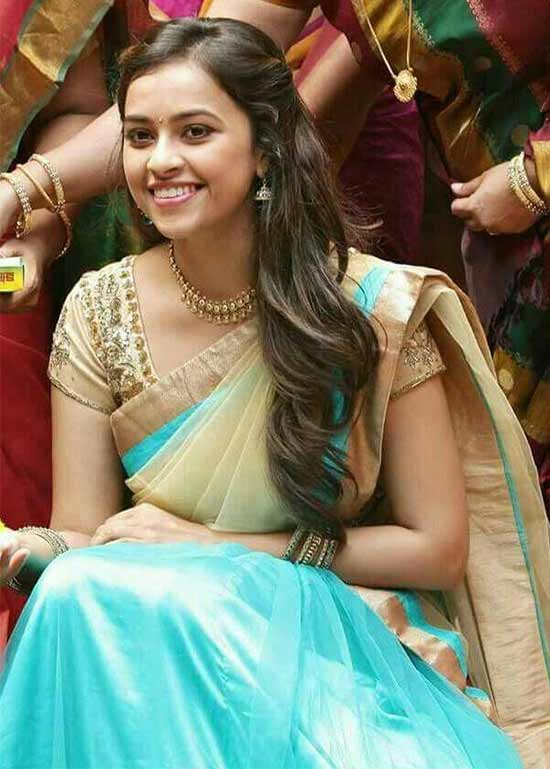 Sri-Divya-In-Clear-Teal-Half-Saree