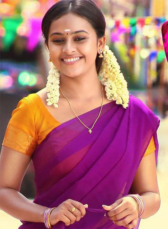 Sri-Divya-In-Purple-Half-Saree