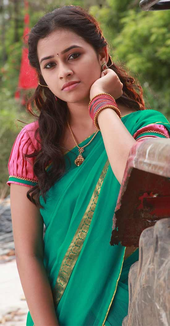 Sri-Divya-In-Spring-Teal-Half-Saree