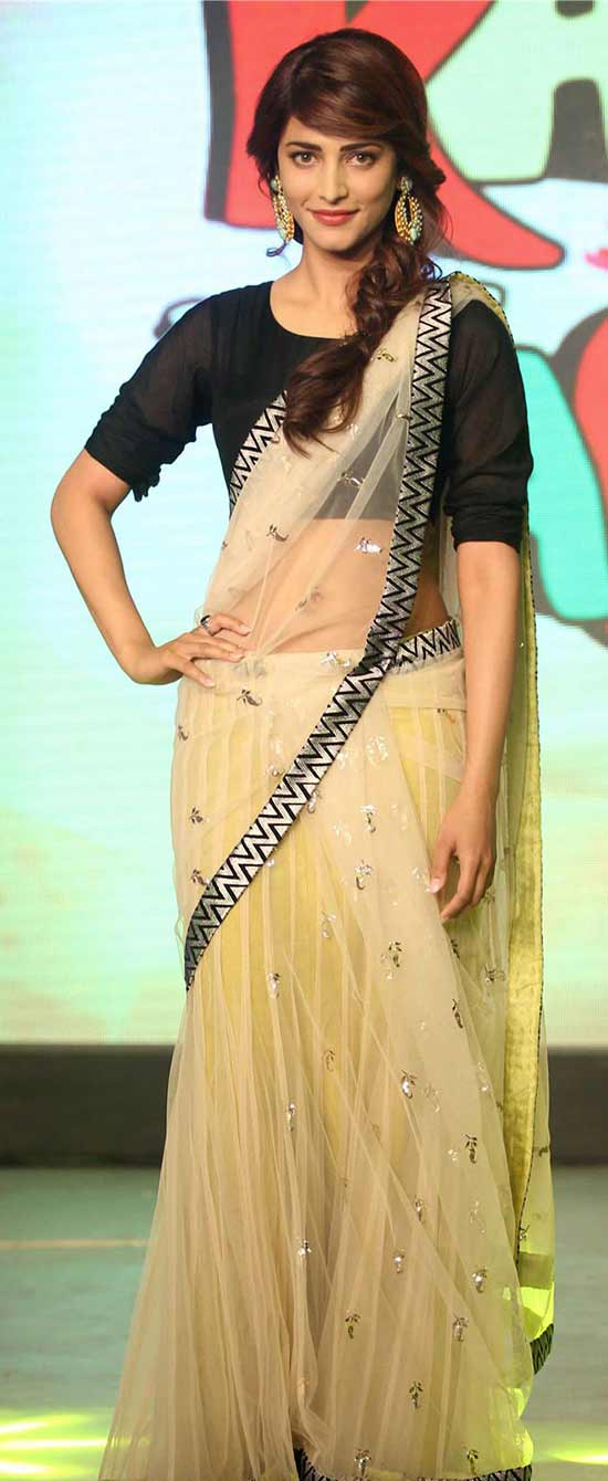 Sruthi-Hassan-In-Yellow-Net-Saree