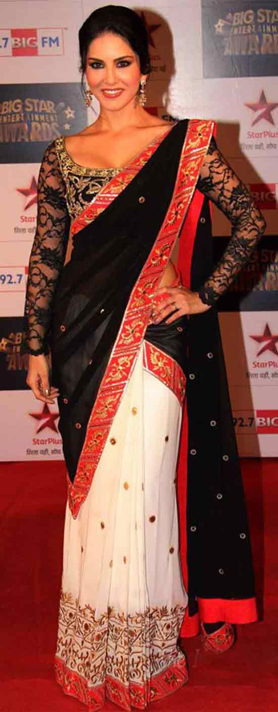 Sunny-Leone-In-Embroidery-Black-And-White-Saree