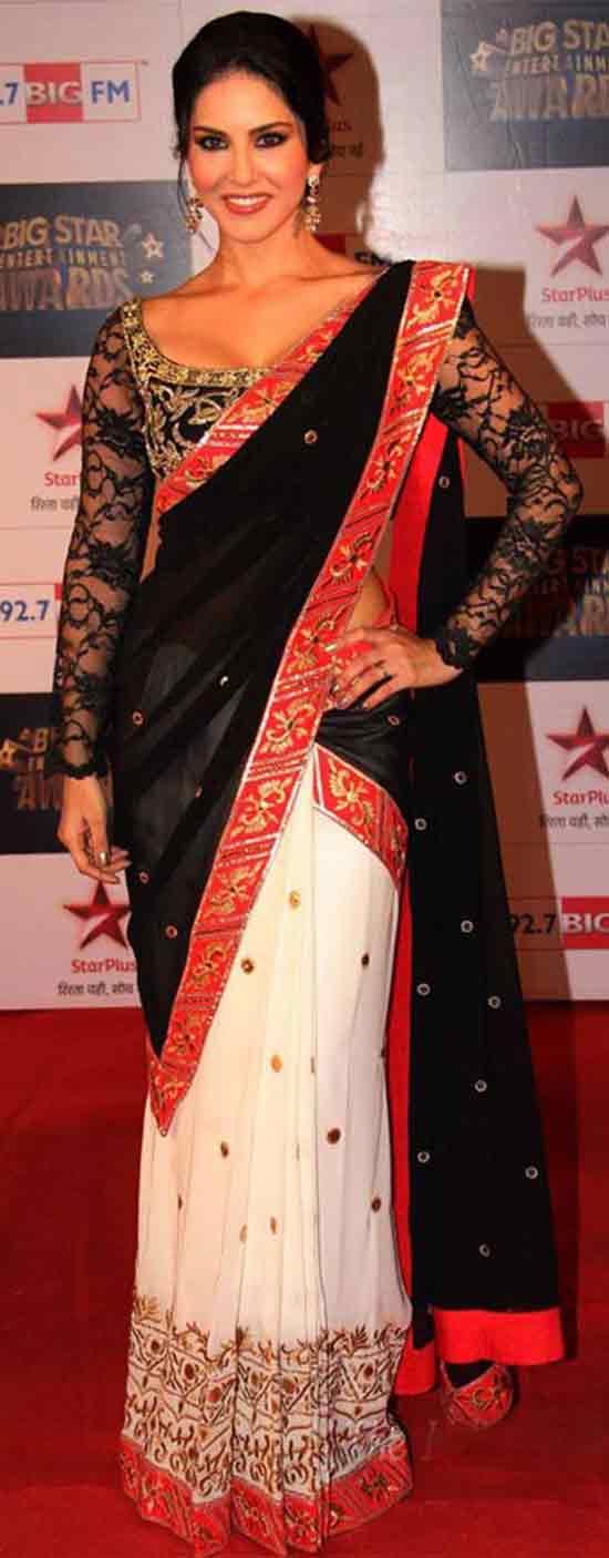 Sunny-Leone-In-Embroidery-Black-And-White-Saree