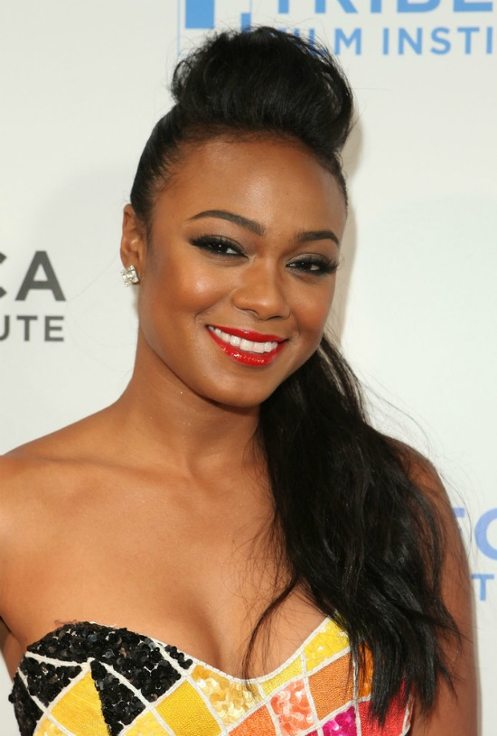 Tatyana Ali Top Knot with Loose Hair