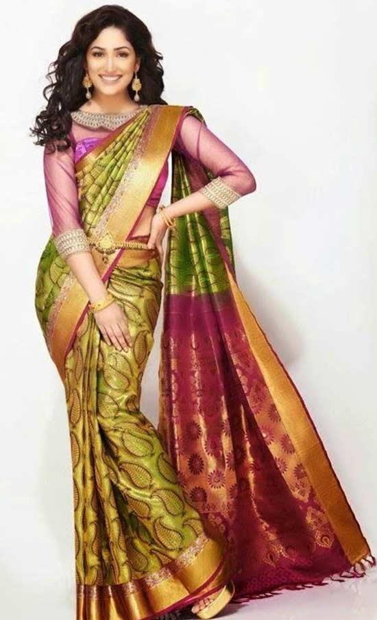 Yami-Gautam-In-Green-Traditional-Saree-With-Gold-Zari-Border