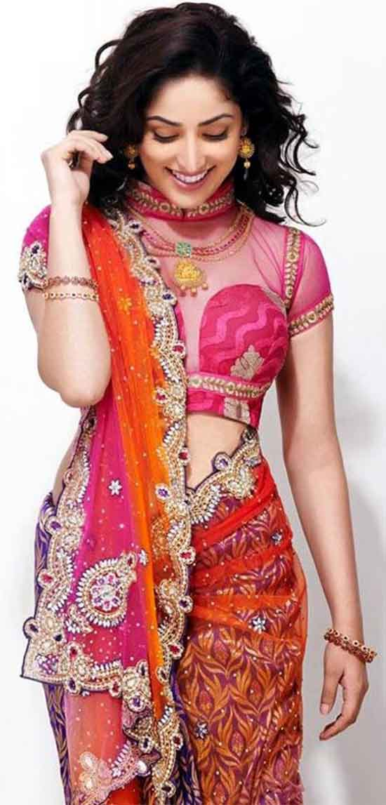 Yami-Gautam-In-MultiColor-Kundan-Saree