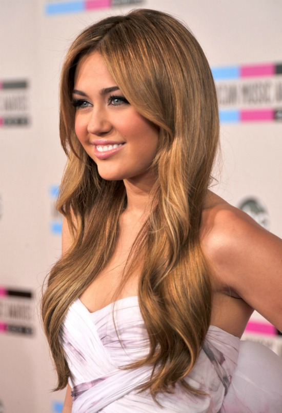 miley cyrus Center Parted Long Sleek Hairstyle with Weaves