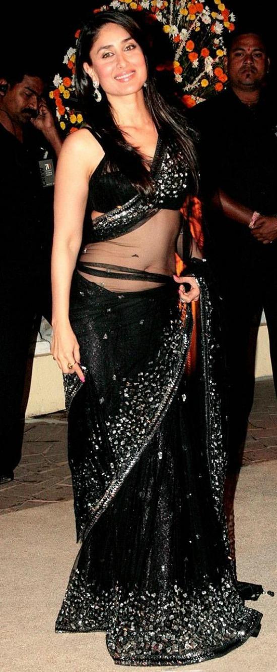 Kareena Kapoor In Black Net Saree With Sequins Work