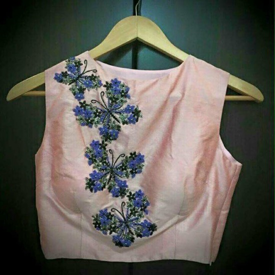 Sleeve Less Maggam Work Blouse Designs