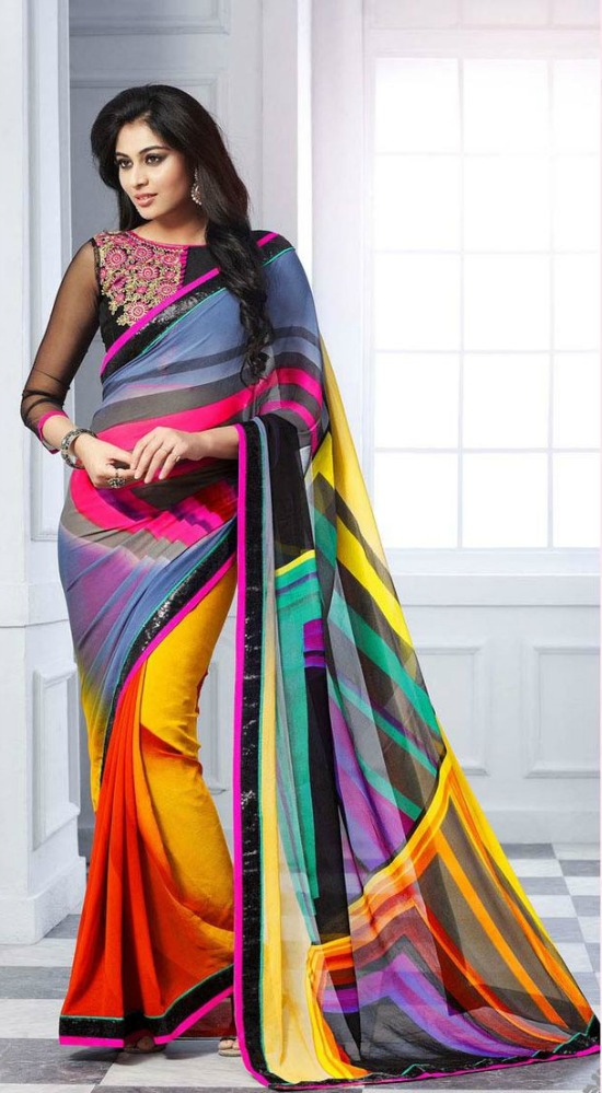 Multi Georgette Party Wear Saree With Boat Neck And Transparent Saree