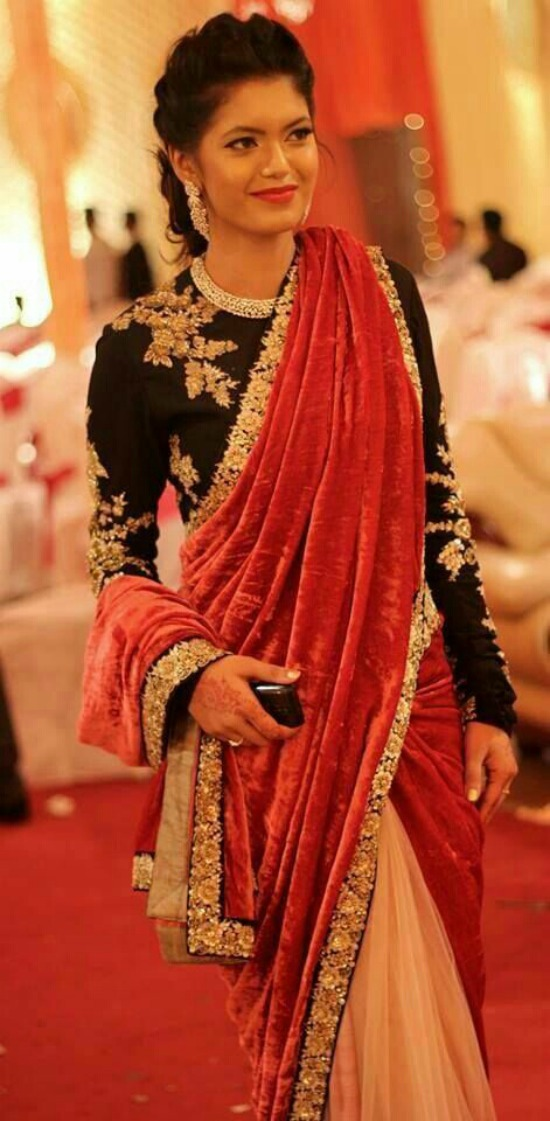 Velvet Half And Half Saree And Black Full Sleeve Blouse
