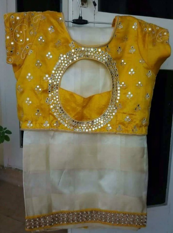 Cream Saree With Pearl Patch Border and Yellow Back Circle Open Blouse