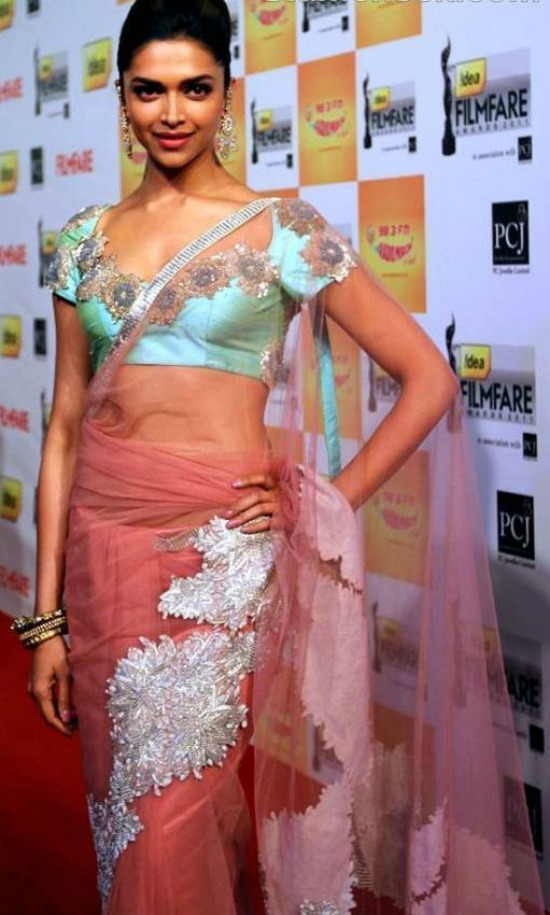 Deepika Padukone In A Peach Coloured Sheer Saree