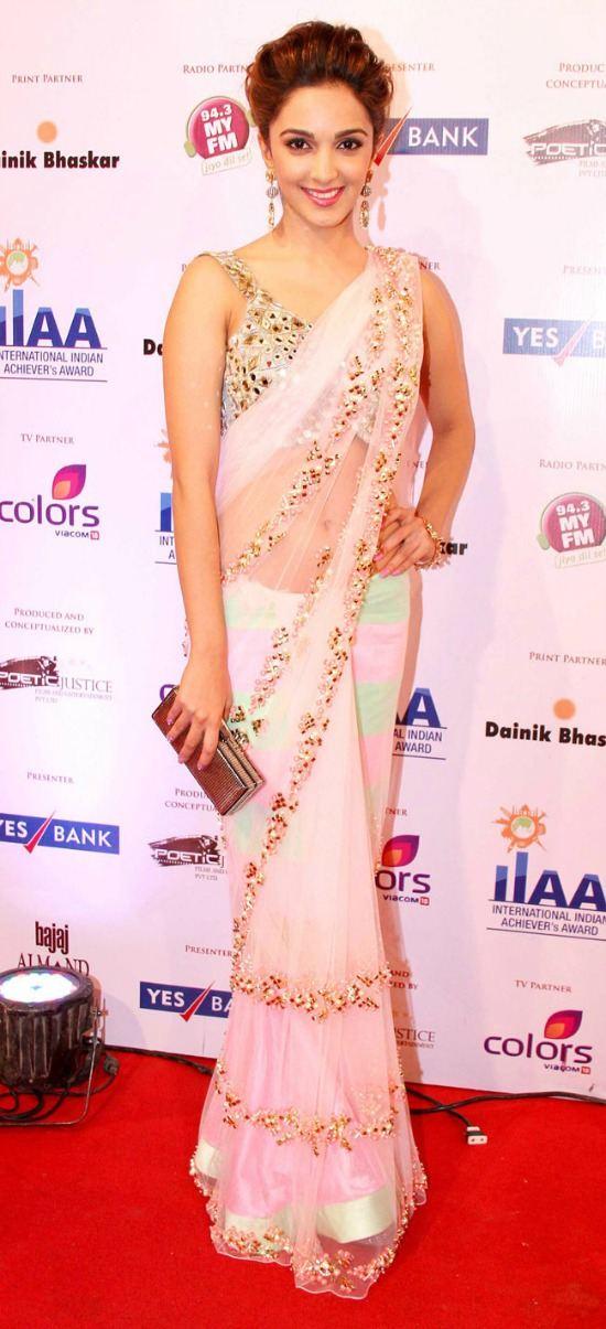Kiara Advani In Mirror Work Prince Cut Sleeveless Blouse
