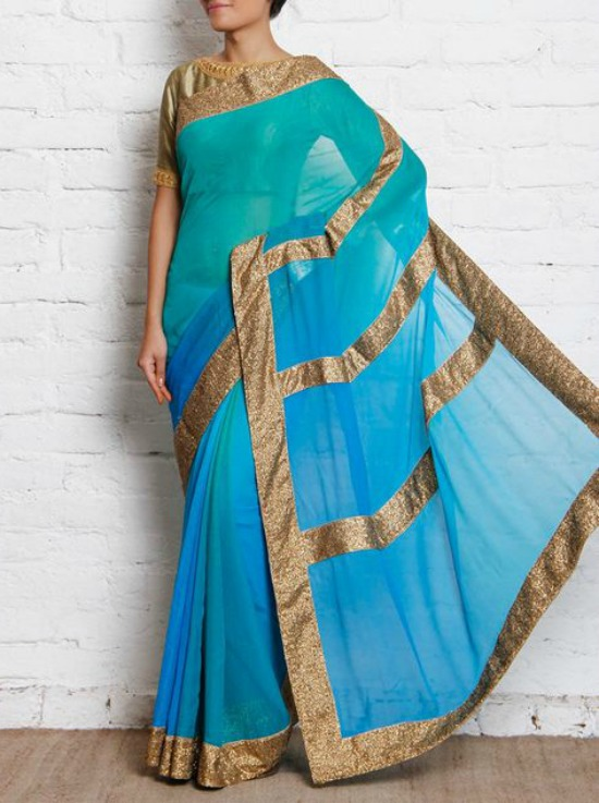 Ombre Chiffon Saree With Gold Sequined Border
