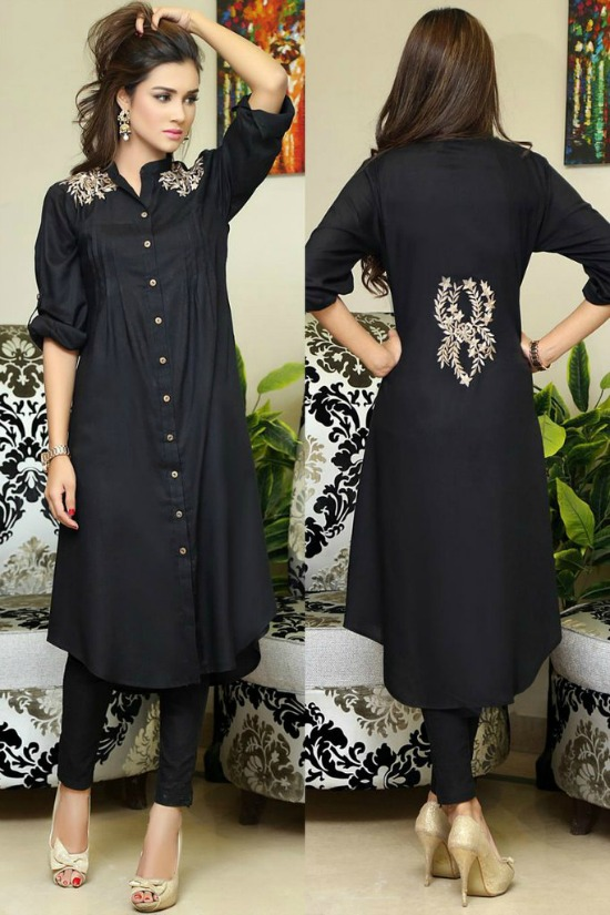 Black  Pakistani Shirt Kurti With Shoulder and Back Embroidery