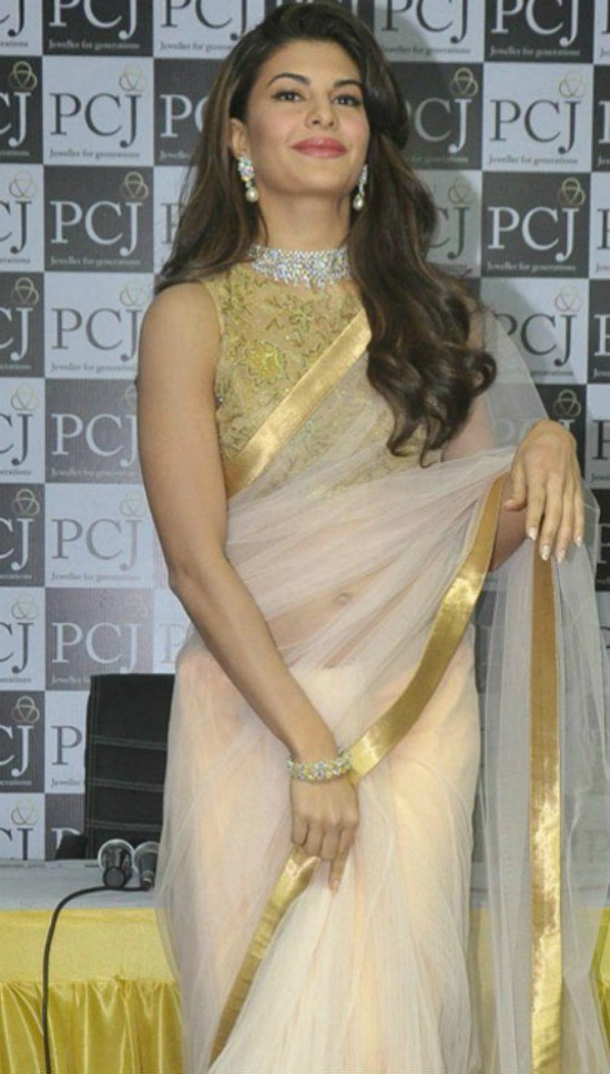 Jacqueline Fernandez In Net Saree With Close Neck Sleeveless Blouse