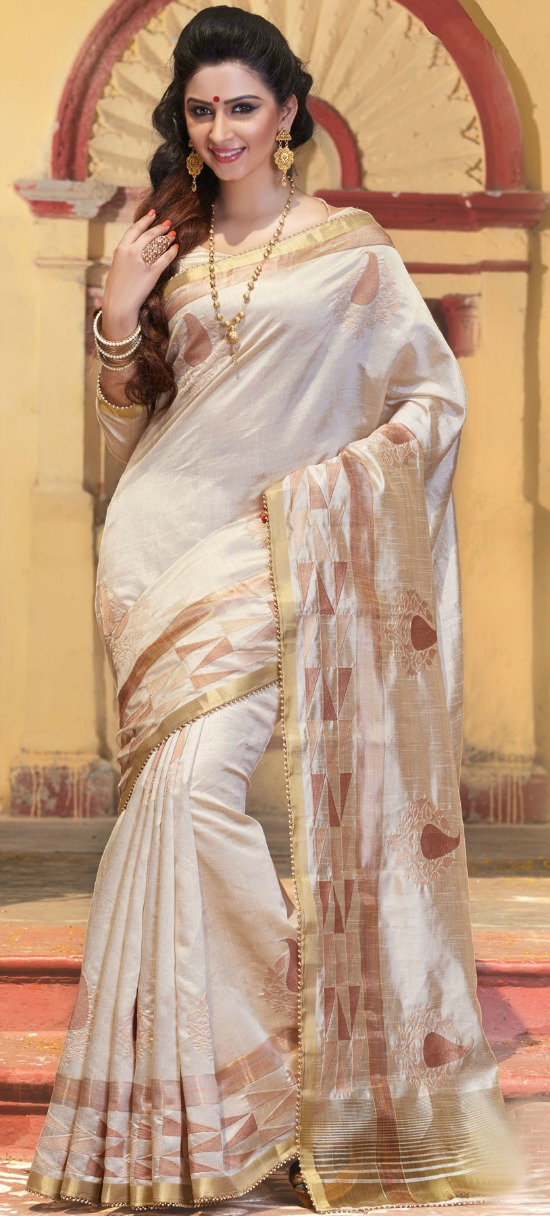 Off White And Gold Pure Tussar Silk Mesmeric Saree