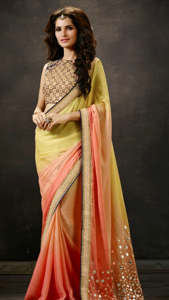 Orange Yellow Color Modest Mirror Work Designer Saree With Sleeveless Closed Neck Blouse