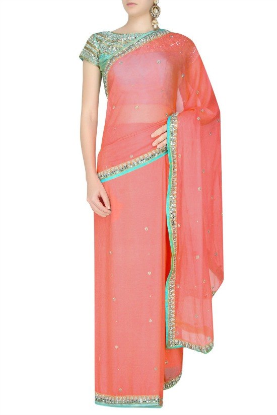 Peach Pearl Zardozi Hand Embroidered Sequinned Saree