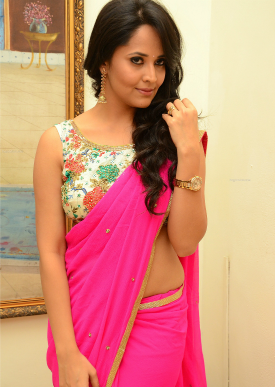 Anasuya In Pink Saree With Floral Print Blouse