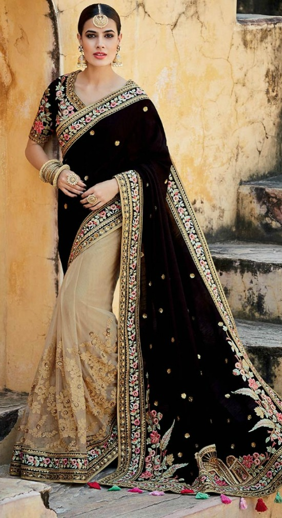 Beige And Dark Brown Colour Net And Velvet Half And Half Saree With Embroidered Work Blouse