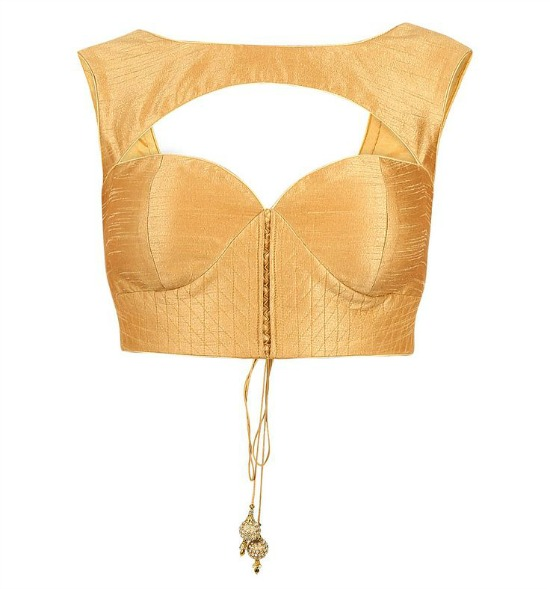 Gold Color Prince Cut Illusion Blouse
