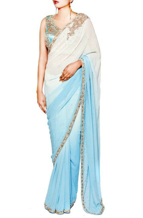 Ivory and Aqua Georgette Sequined Saree