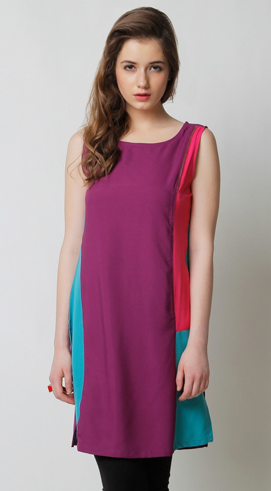 Yepme Elvie Color Block Purple Kurti