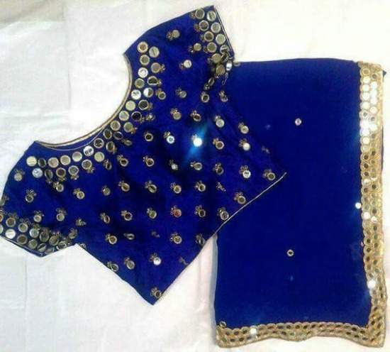 Blue Saree With Mirror Patch Border and Blue Blouse