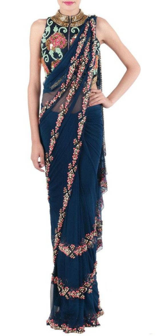 Blue Net Aztec Saree Embellished With Gold Beads Metal Tubes And Sequins