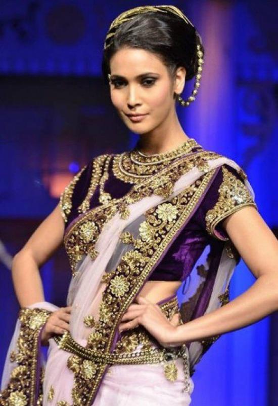 Party Wear Velvet Saree Blouse Design With Kundan Work
