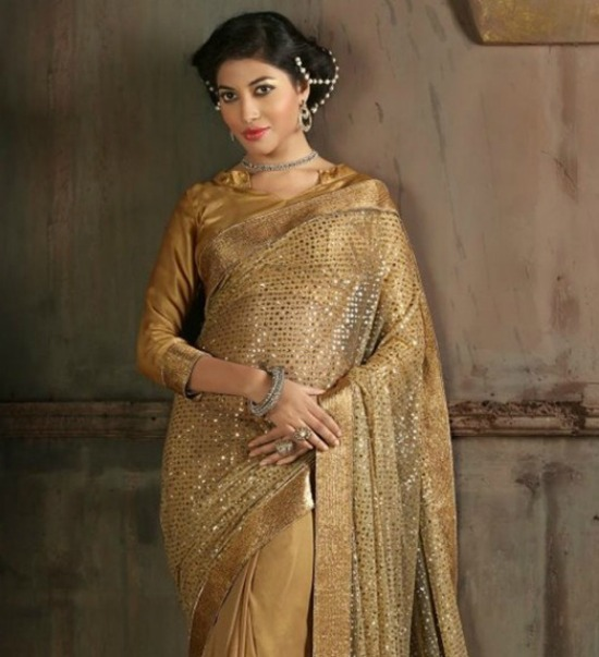 Sequins Work Half And Half Saree With Collar Blouse