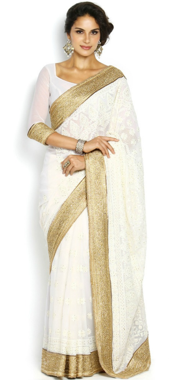 Soch White And Gold-Toned Embroidered Georgette Saree