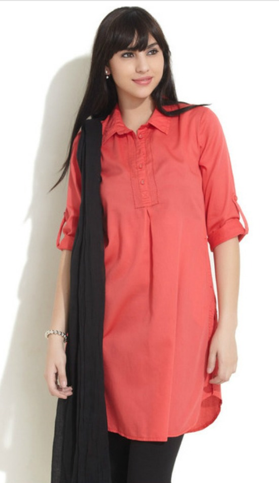 Fashionable Collar Neck Shirt Style Kurtis