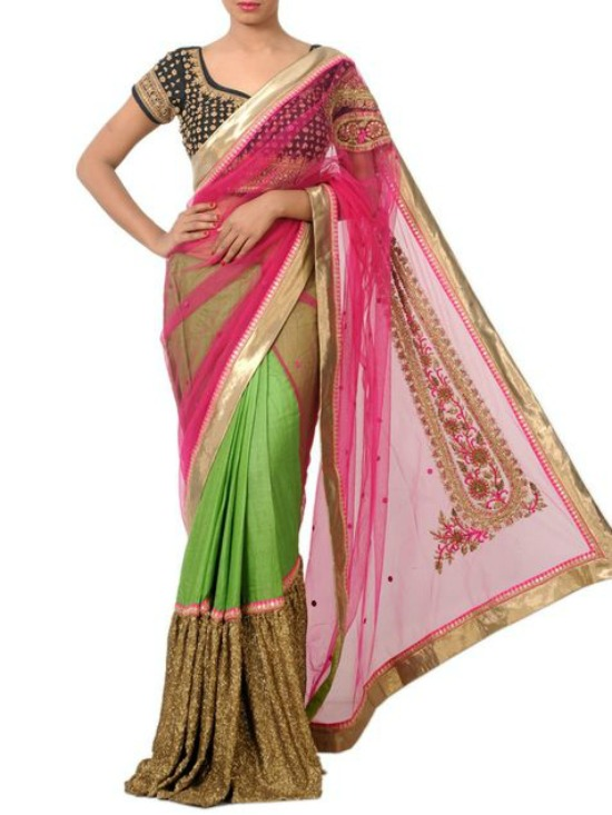 Magenta And Green Chanderi Embroidered and Sequined Saree