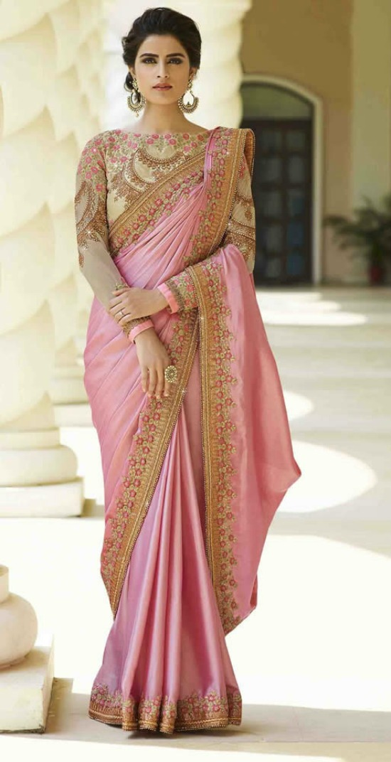 Pink Colour Silk Saree With Heavy Work Designer Blouse